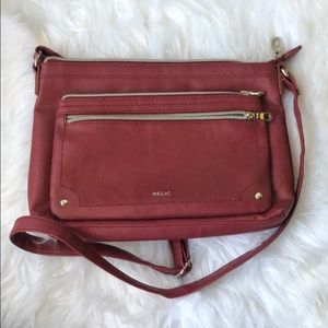 Relic Red Cross Body Purse With 3 Outside Pockets